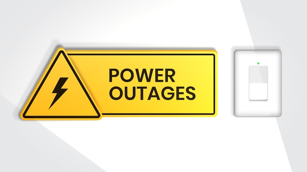 Power outage, warning sign