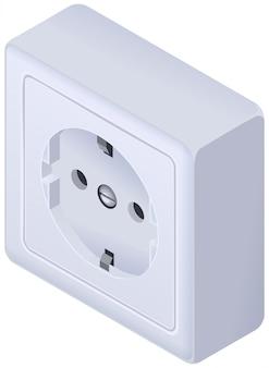 Power outlet wall socket european standard isometric