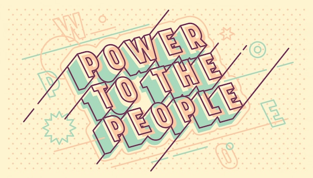 Power to the people lettering typographic retro design