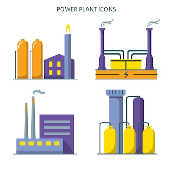Power plant icons collection in flat style