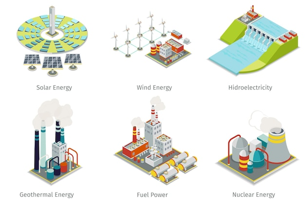 Power plant icons. electricity generation plants and sources.