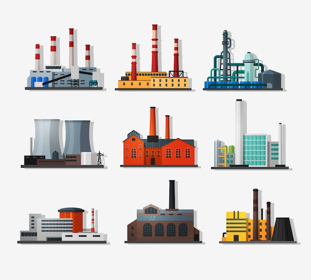 フラットスタイルと長い影の発電所。原子力発電所と化学プラント、古い工場と近代的なプラント。詳細なフラットスタイル。
