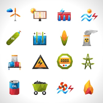 Power plant polygonal icons