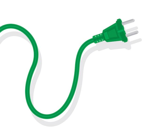 Power plug cord on white.