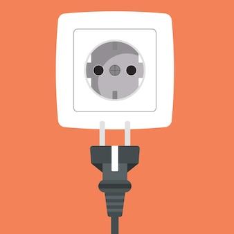 Power plug into white power socket icon