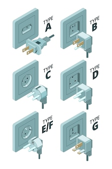 Power plug types. electricity energy box connector meter 3d isometric  illustrations