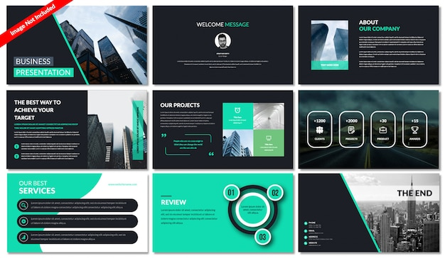 Power point template (ppt) Premium Vector