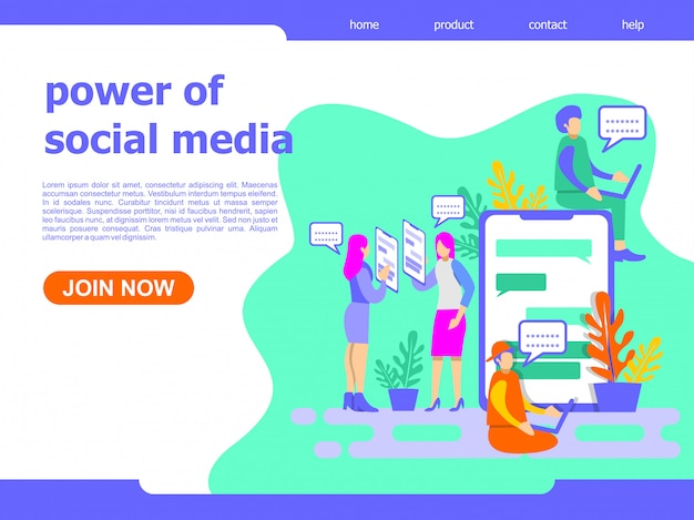 Power of social media landing page illustration