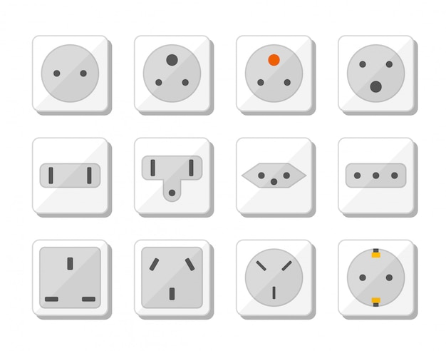 Power socket icon set. world standards for different country plugs. illustration.