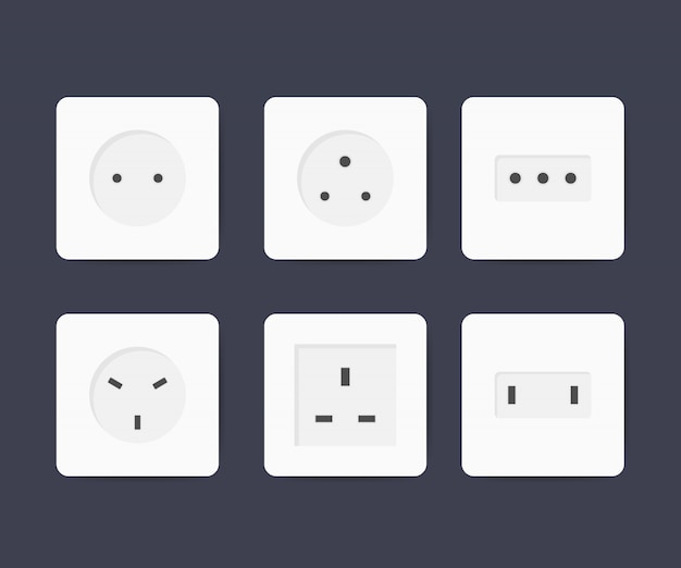 Power socket icon set