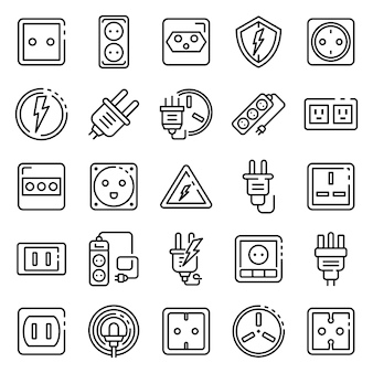 Power socket icons set, outline style