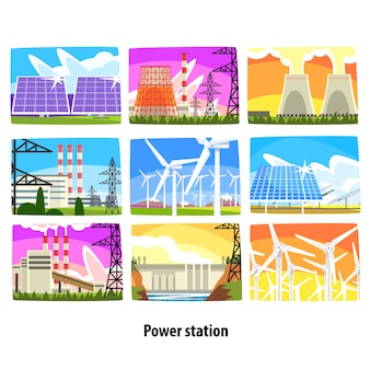Power station set, electricity generation plants and sources colorful  illustrations