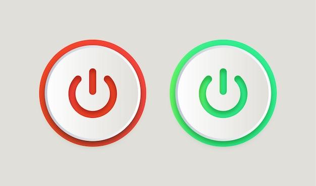 アイコンをオンにしてシンボルをシャットダウンする電源スイッチボタン