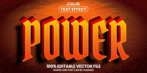 Power text, font style editable text effect