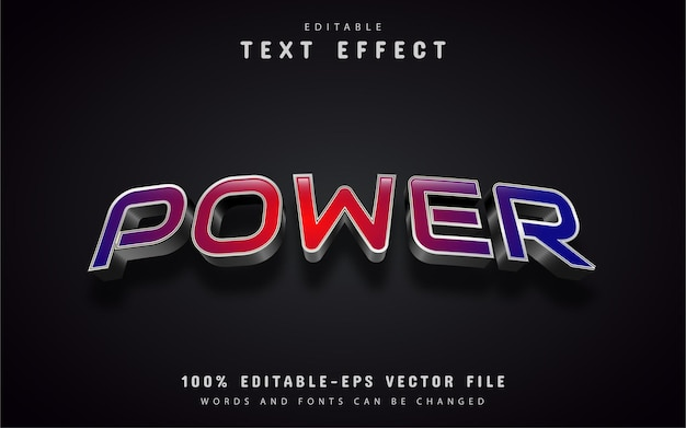 Power text, red gradient text effect