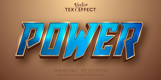 Power text, shiny gold and blue color style editable text effect