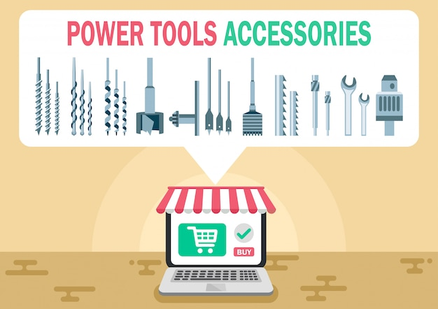 Power tool accessories shop flat vector web banner