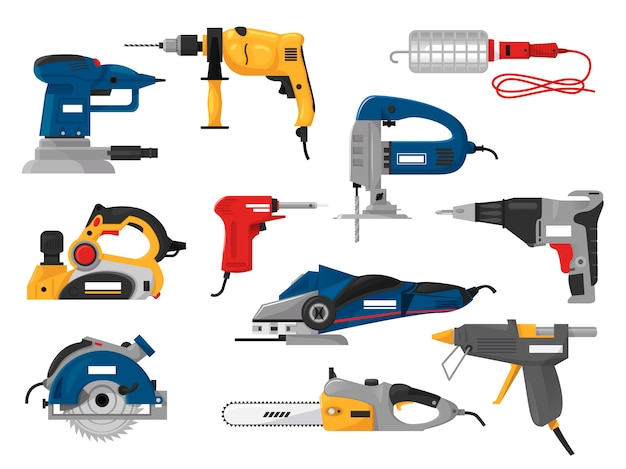 Power tools electric construction equipment circular-saw power-planer grinder illustration machinery set of screwdriver and electrical sander in toolbox isolated on white background