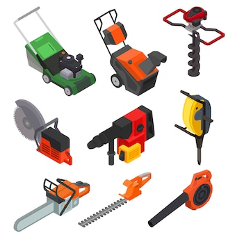 Power tools vector electric construction equipment circular-saw lawn mower power-planer isometric set of electric jig-saw grass-cutter isolated