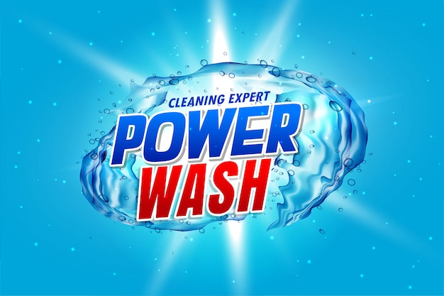 Упаковка моющего средства power wash с брызгами воды
