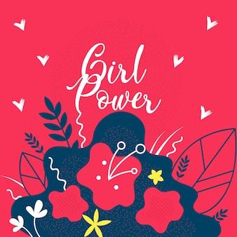 Девушка power цветочные плоский веб-баннер шаблон.