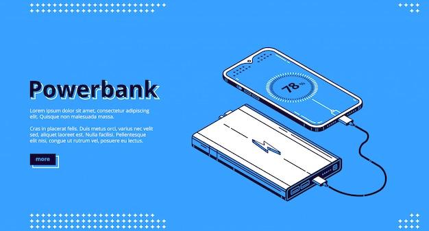 Powerbank smartphone charging isometric landing