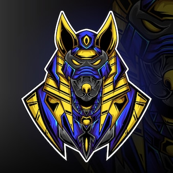 Мощный игровой талисман анубис вектор логотип