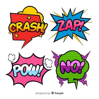 Powerful comic speech bubbles colorful