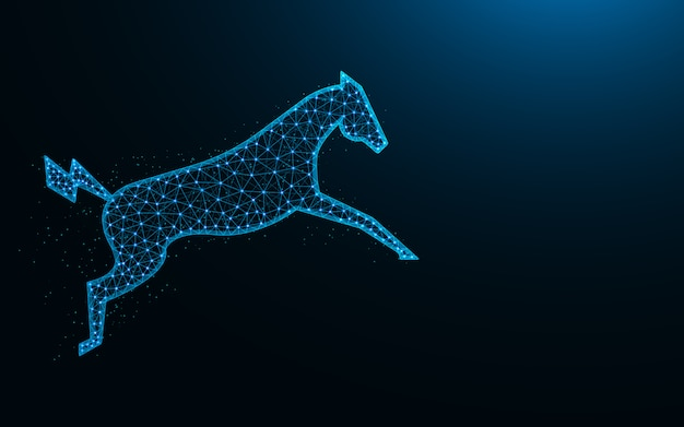 Powerful electric horse in a jump low poly design, animal abstract geometric image, zoo wireframe mesh polygonal vector illustration made from points and lines