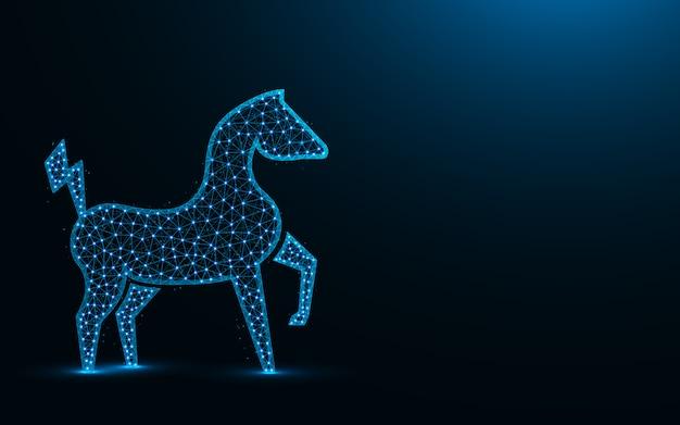 強力な電動馬の低ポリデザイン、動物の抽象的な幾何学的な画像、動物園ワイヤフレームメッシュポイントとラインから作られた多角形のベクトル図