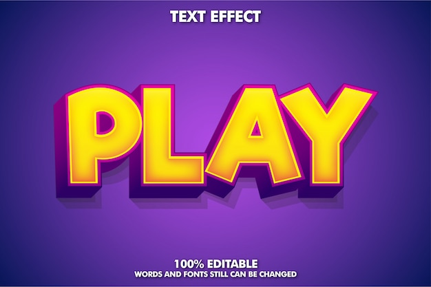 Powerful game style text effect with play word