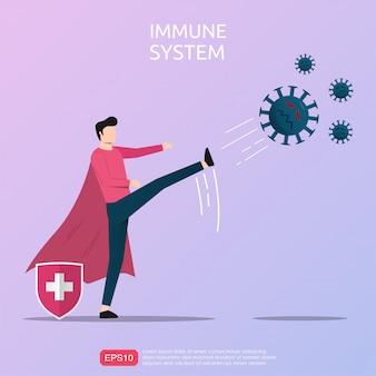 強力な免疫を表す強力な男性キャラクターがウイルスまたは感染性因子を蹴る。
