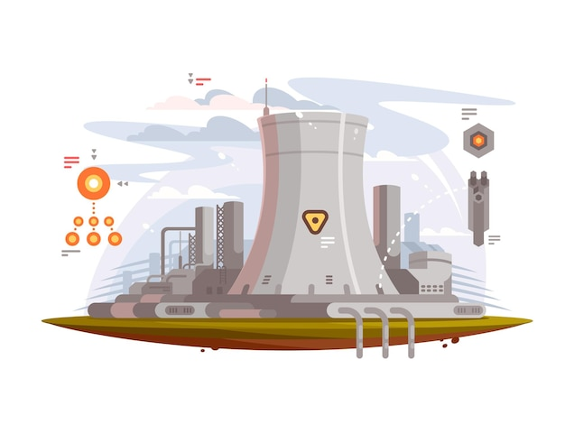 Powerful nuclear reactor at power plant to provide electricity
