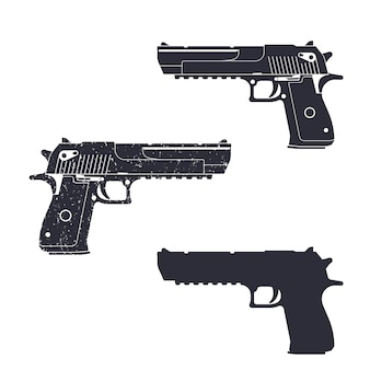 Powerful pistol, gun silhouette, pistol illustration, handgun,