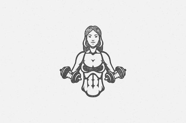 ダンベルのロゴで運動する強力なスポーツウーマン