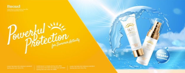 Powerful sunscreen banner with water protective shield
