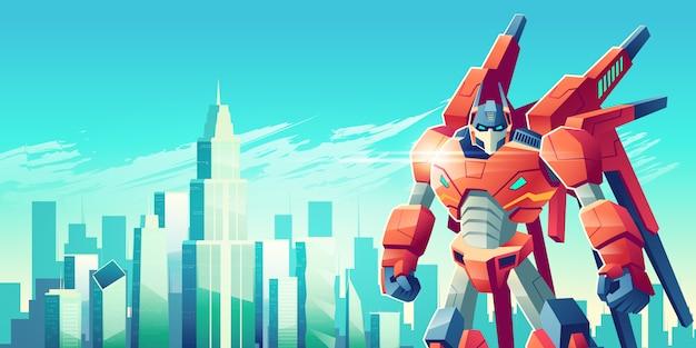 Potente guerriero robot trasformatore in piedi con i pugni chiusi