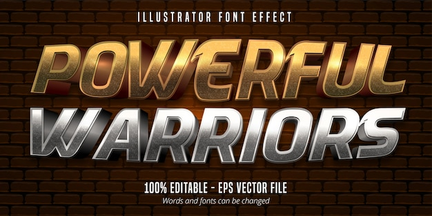 Powerful warriors text,  gold and silver metallic style editable font effect