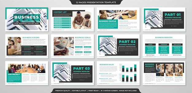 ビジネスポートフォリオと年次報告書のためのプレミアムスタイルの使用を備えたパワーポイントレイアウトテンプレート