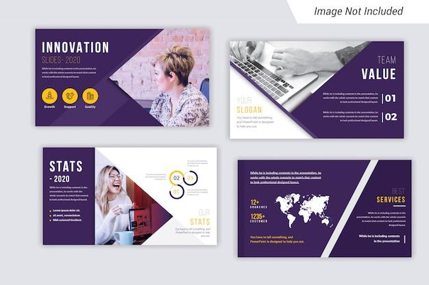 Powerpoint presentation slides with photo premium vector.