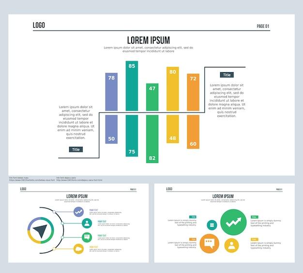 Сравнительная панель, полусфера, набор слайдов презентаций и шаблон powerpoint