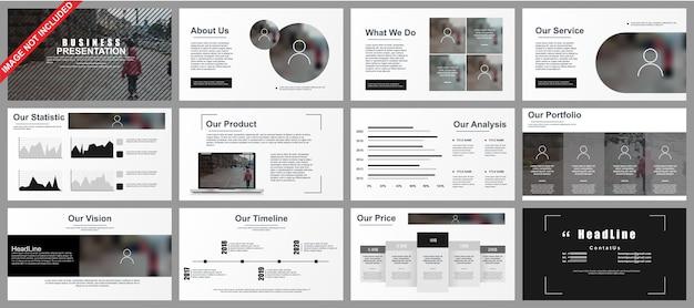 Бизнес-презентация powerpoint отображает шаблоны из инфографических элементов.