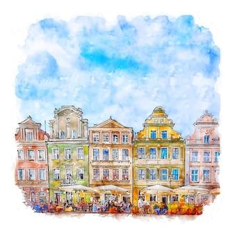 포즈난 폴란드 수채화 스케치 손으로 그린 그림