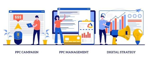 Управление кампанией ppc, концепция цифровой стратегии с иллюстрацией крошечных людей