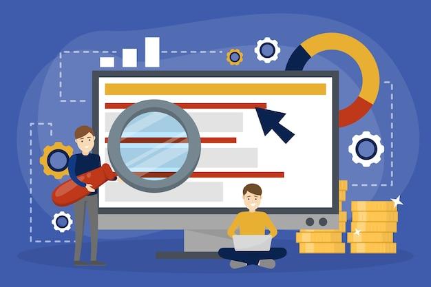 Ppcはインターネットのクリック広告ごとに支払う。事業推進のためのマーケティング戦略。 webページ上のバナーの支払い。漫画のスタイルのイラスト