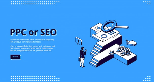 Ppc or seo isometric landing page, cpc technology Free Vector