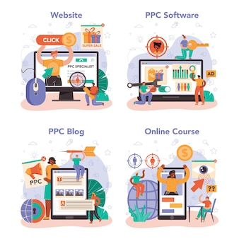 Ppc specialist online service or platform set. pay per click manager, contextual advertsing and targeting in the internet. online course, ppc blog and software, website. flat vector illustration