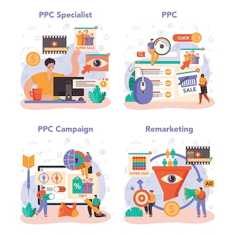 Ppc specialist set. pay per click manager, contextual advertsing and targeting in the internet specialist. marketing strategy for business promotion. flat vector illustration