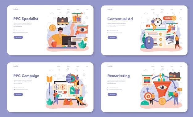Ppcスペシャリストのwebバナーまたはランディングページセット。クリック課金型マネージャー、インターネットでのコンテンツターゲット広告とターゲティング。事業推進のためのマーケティング戦略。フラットベクトルイラスト