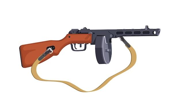 第二次世界大戦のppshサブマシンガン。自動小銃。白い背景の上の孤立したイラスト。